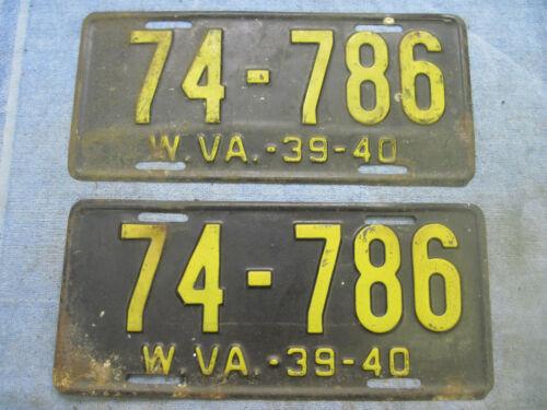 VINTAGE PAIR (FRONT & REAR) West Virginia License Plates  WV 1939-40  # 74-786