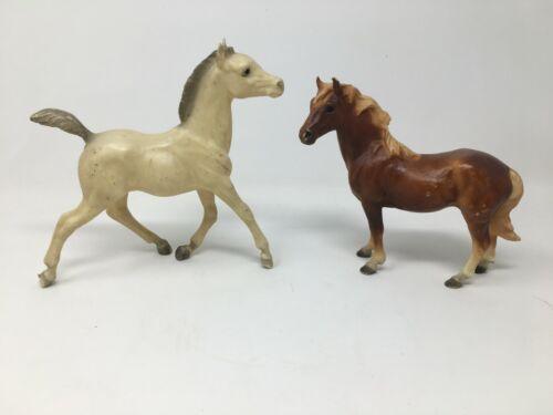 Pair of Vintage Breyer Horse Foals/Ponies Brown Cream