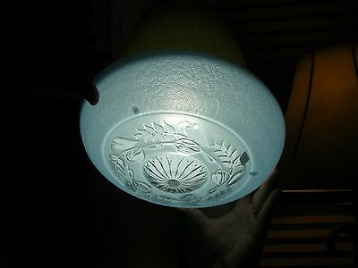 Vintage Blue Frosted Pressed Floral Design Glass Light Fixture Bowl Shade