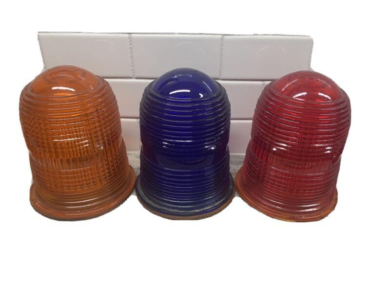 VINTAGE SET OF 3 Airport Runway Light Glass cover/lense HEAVY Red Orange Blue
