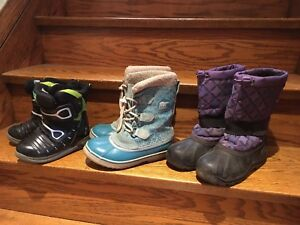 Kids winter boots and rainboots - size 12 and size 2