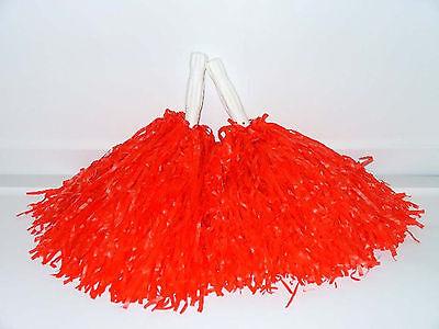 1 Pair RED Cheer Pom Poms School Cheerleading Halloween costume - Halloween Pom Poms