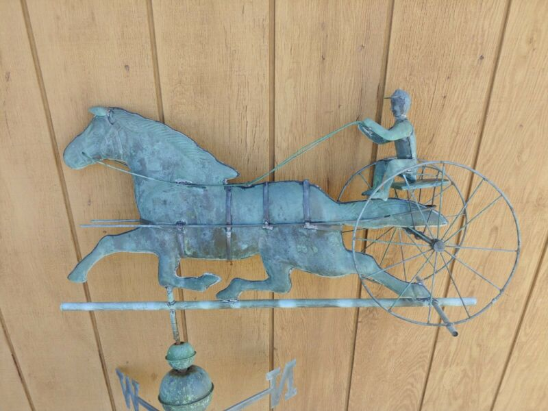 Antique Copper Sulky Jockey Horse Carriage Buggy Weathervane with Directionals