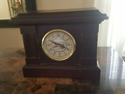 Quartz Wooden Table Desk Cherry Red Used Clock. No Back Cover.