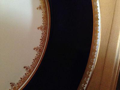 "ADDERLEY Made ENGLAND COBALT BLUE Gold Filigree SALAD PLATE 8"" FINE BONE CHINA"