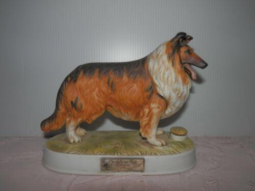 Vintage Lionstone British Rough Collie Dog Whiskey Decanter Porcelain 1975