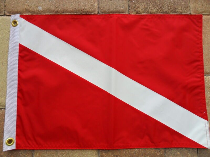 "12""X18""NAUTICAL: DIVER DOWN BOAT/YACHT FLAG DOUBLE SIDED NYLON"