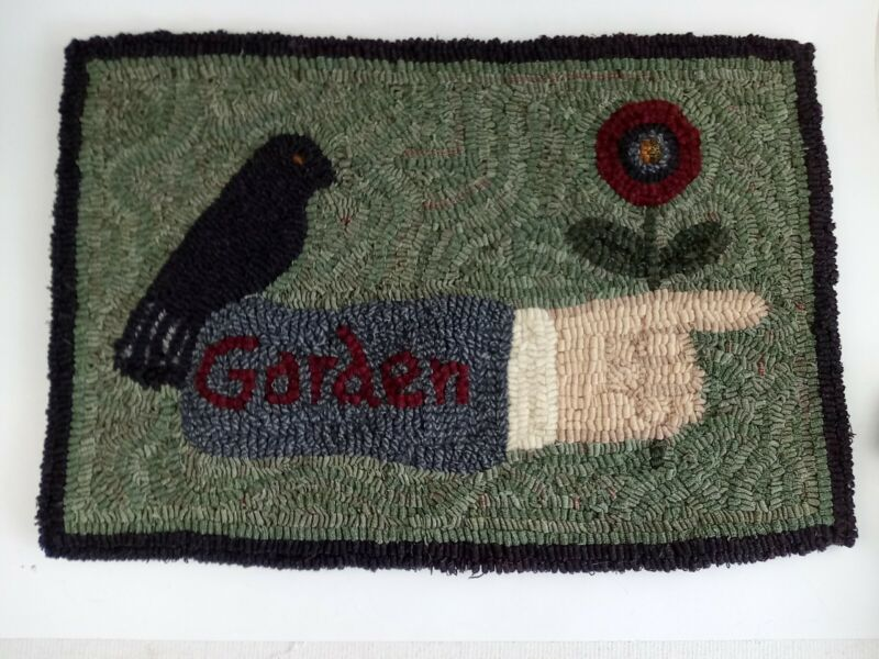 Vtg 12x18 To the Garden Handmade Punch Needle Tapestry Wall Hanging Black Border