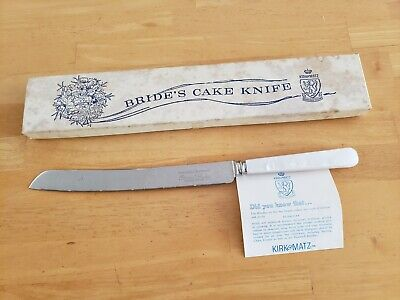 Vintage Bride's Cake Knife, Stainless Steel, Pearlized Handle. Kirk & Matz Boxed