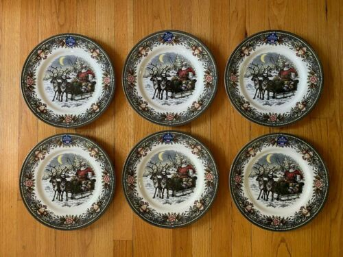 New Set of 6 - Christmas Santa Sleigh Reindeer Dinner Plates Royal Stafford