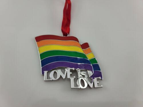 Love is Love Rainbow Flag Harvey Lewis Enamel Metal Ornament