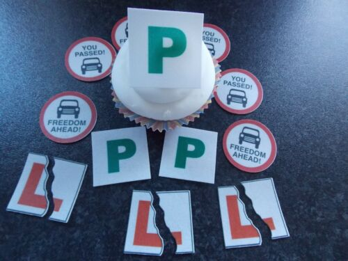 12 PRECUT Edible Driving Test/Passed wafer/rice paper cake/cupcake toppers