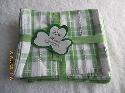 (Vintage Rich Home 5 Green Designer Kitchen Textiles Towels CollectibleLinens NEW)