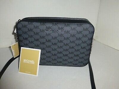 MICHAEL KORS AUTHENTIC JET SET BLACK CROSS BODY HANDBAG NEW w/TAGS