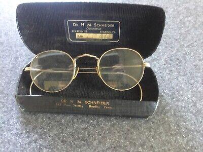 Antique wire rimmed frame reading glasses Bifocals with case 10/12 kgf gold (Wire Rimmed Glasses Frames)