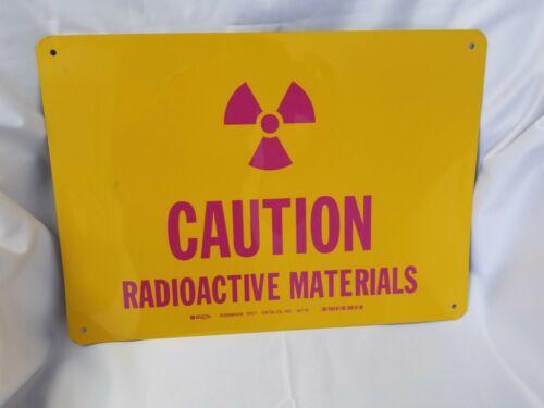 "BRADY #46778 Rigid Metallic Sign CAUTION RADIOACTIVE MATERIALS, 14x10"""