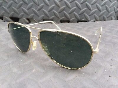 Vintage Polaroid 4018a Gold Color Metal Frame Military Aviator Sunglasses Pilot