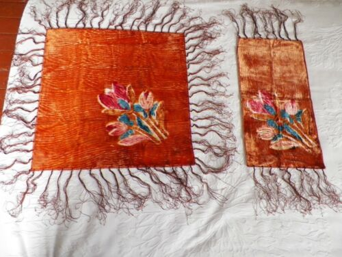 Antique Victorian Fringed Orange Velvet Floral Table Scarf Topper Set of Two