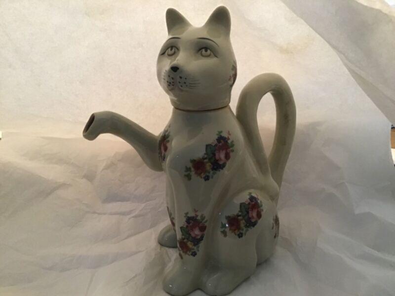Vintage Figural Cat Teapot Floral Motif