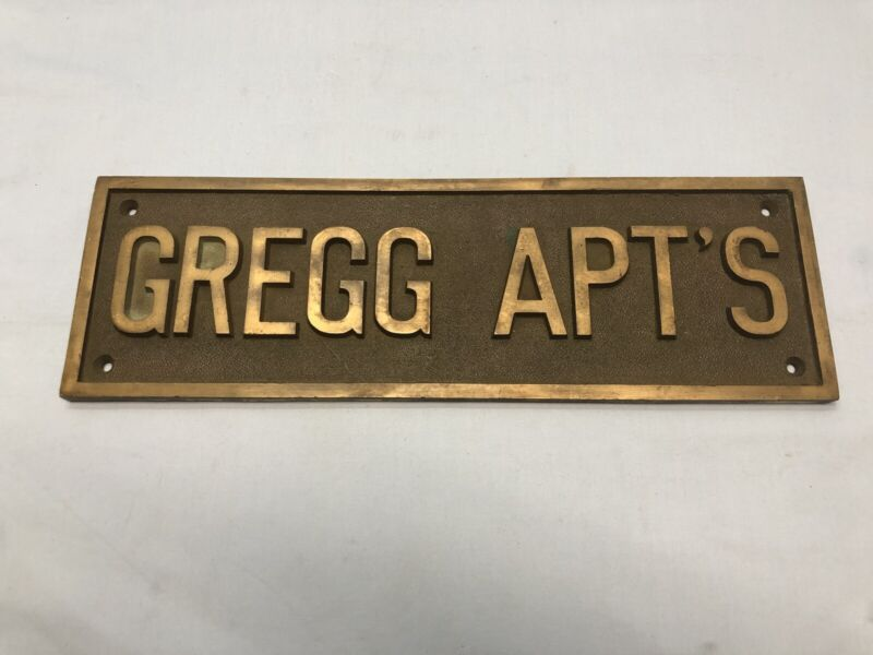 "Vintage Architectural Salvage GREGG APT'S Bronze Sign Plaque 19"" 13lbs."