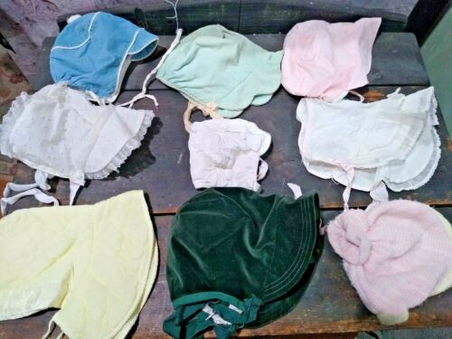 ANTIQUE VINTAGE LOT OF 9 BABY BONNETS GIRLS & BOYS