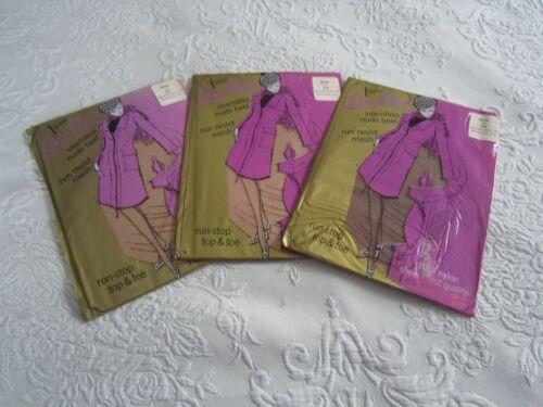 3 Pr SEAMIST Vintage Nylon Seamless STOCKINGS Size 11 Beige Garter Pinup Girl