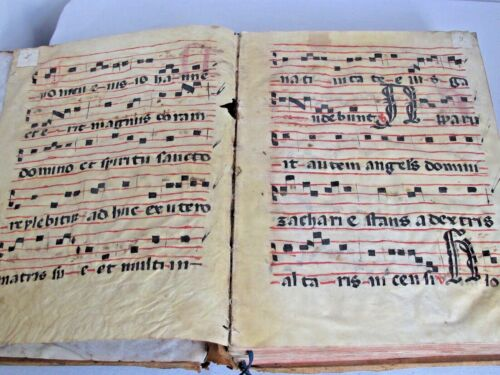 16th c. Antiphonal Music Manuscripts Vellum 130 Double Sided Entire Leather Book