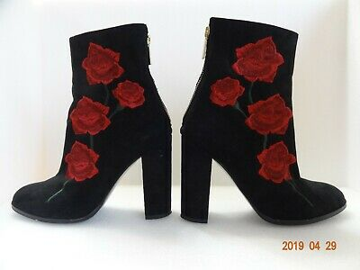 LF Intentionally Blank Black Rosa Embroidered Suede Boot Size 38