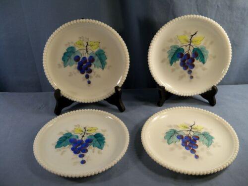 4 Westmoreland Milk Glass Beaded Edge Salad Plates Grapes Grapevine Decorations