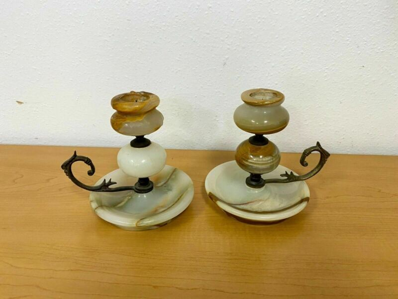 Vintage Set of Candle Holders - Marble & Brass (From Turkey 1980