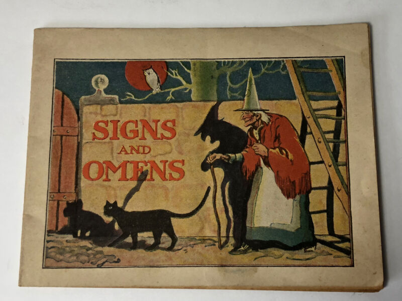 VINTAGE HALLOWEEN Signs and Omens Book WITCH BLACK CAT MOON Adrian MI Dreams 20s