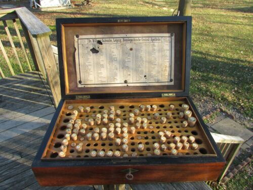 Early 1880s Dr WILLMAR SCHWABE Wooden HOMEOPATHY Medicine APOTHECARY Box w/VIALS