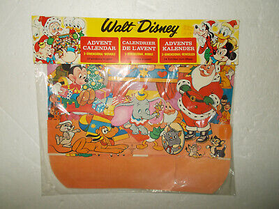 Vintage Walt Disney Productions Christmas Holiday Advent Calendar NEW