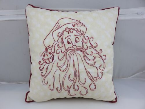 CHRISTMAS SANTA CLAUS Embroidered Pillow HANDMADE Completed