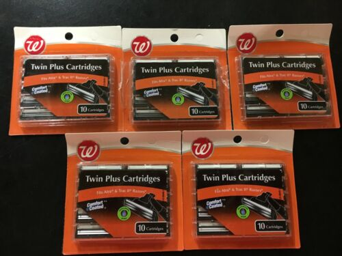 (5) Twin Plus Razor Cartridges, Fits Atra & Trac ll Razors, 10 Catridges Each