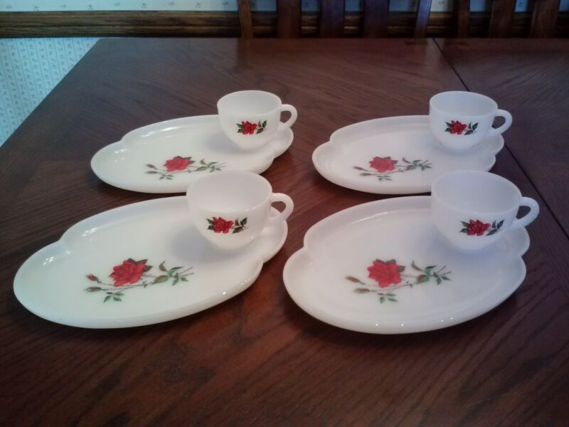 Federal Glass Rosecrest, white milk glass luncheon set - 8 pcs; plate/trays/cups