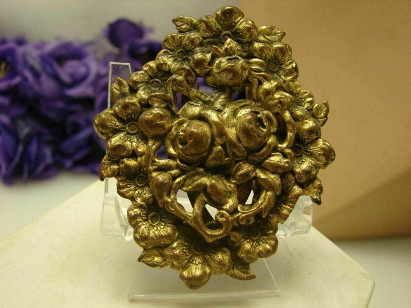 Vintage Pressed Metal Roses Floral Bouquet Dress Fur Clip