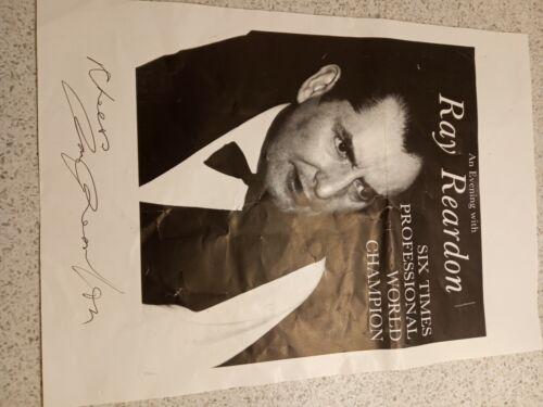 Signed Ray Reardon Photo Snooker Champion