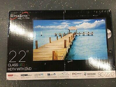 "Supersonic SC-2212 22"" Digital HDTV W/DVD 1080p HD LED LCD 12 Volt AC/DC rv boat"