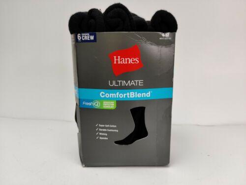 Hanes Ultimate Men's 6-Pack FreshIQ Dyed Crew Socks, Grey, ,