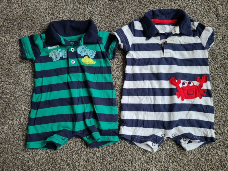 Carters Baby Boy 6 Months One Piece Polo Summer Outfits Crab Dinosaur Big Guy...