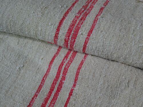 Antique European Feed Sack GRAIN SACK Red Stripe # 9438