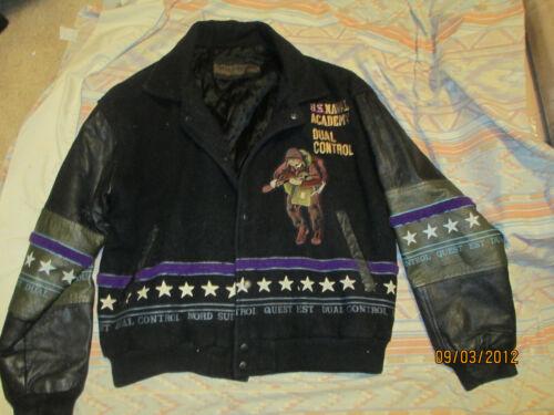 Dual Control Leather/Wool Varsity Jacket U.S. Naval Academy Marines 5th Div