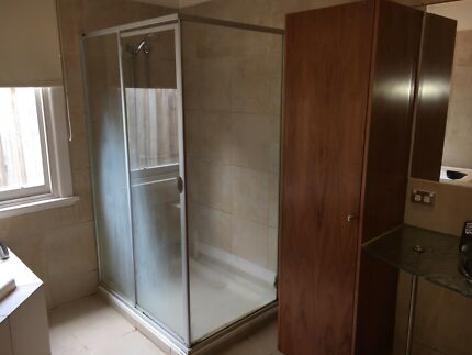 Shower base and fittings excluding shower head.