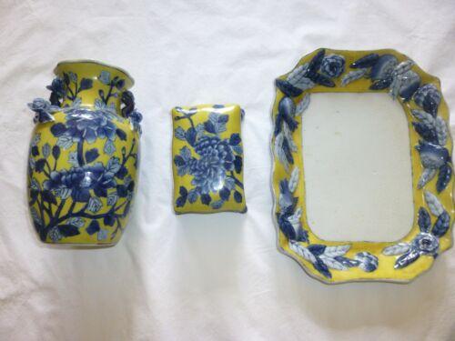 United Wilson, JUWC 1897 hand painted China blue & yellow decorative plate x 3