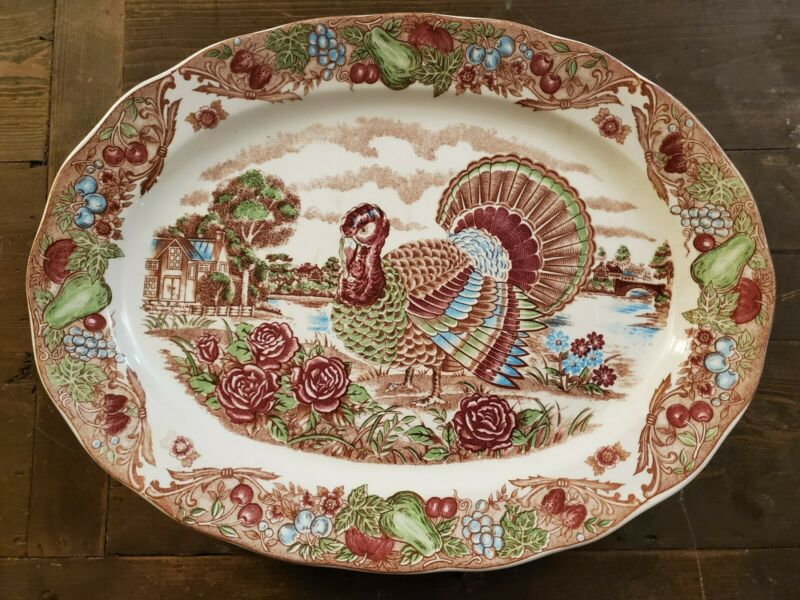 "Vintage Large Thanksgiving Christmas Holiday Turkey Platter 18"" x 13.5"" Japan"