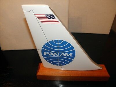 PAN AM AIRLINE WOOD DESK MODEL AIRPLANE TAIL PAN AMERICAN PILOT CHRISTMAS GIFT!