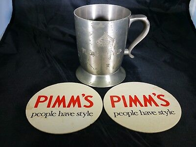 RARE Vintage PIMM'S NO. 1 CUP FRUIT PEWTER MUG  COASTERS LIQUEUR  ENGLAND (Pimms Cup)