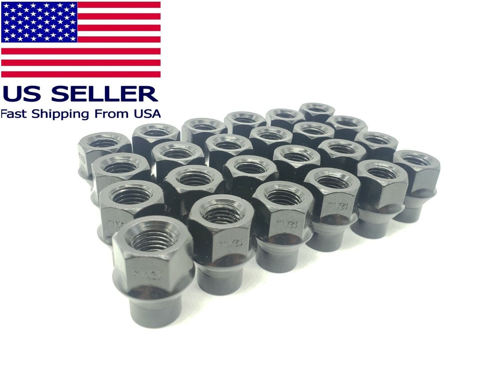 24PC Set 12×1.5 Extended Thread ET Open End Wheel Black LUG NUTs 3/4″ For Toyota Car & Truck Parts