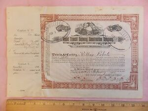 Original-Vintage-Rapid-Transit-Subway-Construction-Company-NY-Stock-Certificate